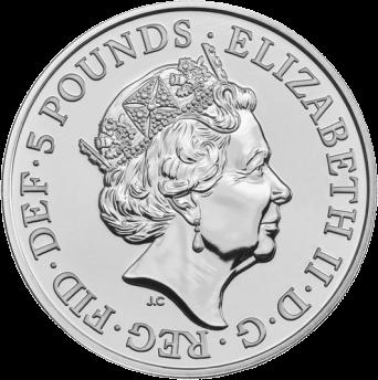 Великобритания монета 5 фунтов стерлингов, аверс