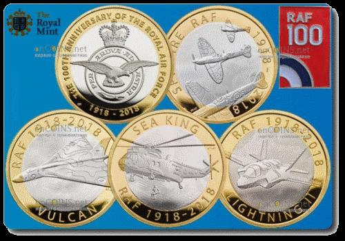 Великобритания памятный набор из 5 монет номиналом 2 фунта стерлингов 100-летие Королевских ВВС