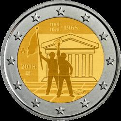 Бельгия монета 2 евро 50-летие студенческого восстания в мае 1968 года, реверс