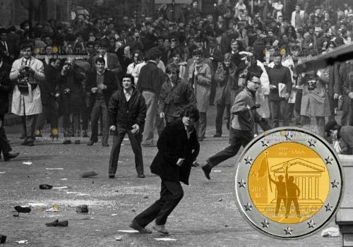 Бельгия монета 2 евро 50-летие студенческого восстания в мае 1968 года