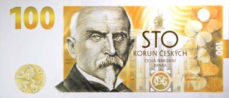 Чехия памятная банкнота 100 крон 100-летие чехословацкой валюты, лицевая сторона