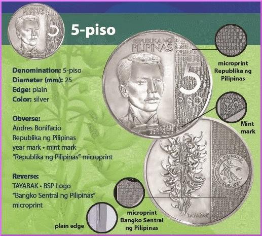 Филиппины монета 5 песо 2018 год