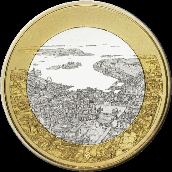 Финляндия монета 5 евро Морской Хельсинки, реверс
