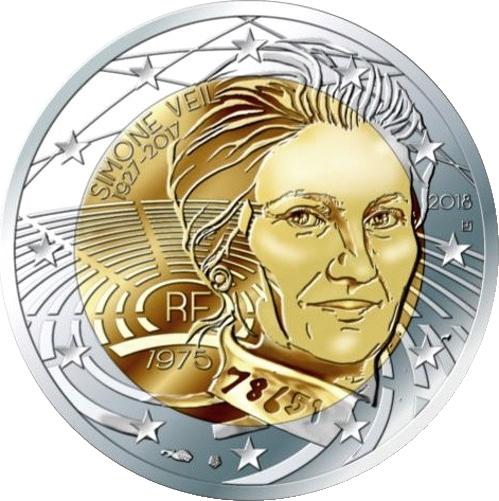 Франция монета 2 евро Симон Вейл, реверс