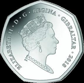Гибралтар монета 50 пенсов Красный колобус, аверс