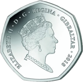 Гибралтар монета 50 пенсов 2018 год, аверс