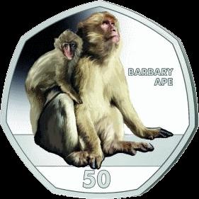 Гибралтар монета 50 пенсов Берберская обезьяна, реверс