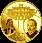 Испания памятная монета 200 евро Барокко и Рококо, аверс