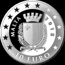 Мальта монета 10 евро 50 лет Центральному банку Мальты, аверс