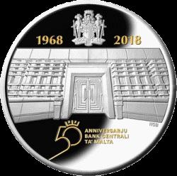 Мальта монета 10 евро 50 лет Центральному банку Мальты, реверс