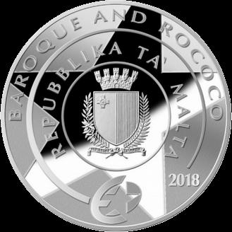 Мальта монета 10 евро Искусство Барокко, аверс