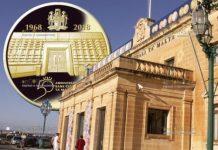 Мальта монета 100 евро 50 лет Центральному банку Мальты