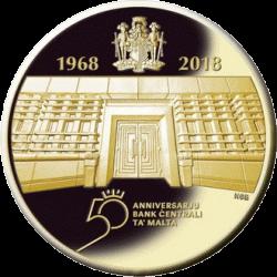 Мальта монета 100 евро 50 лет Центральному банку Мальты, реверс