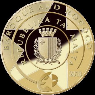 Мальта монета 50 евро Искусство Барокко, аверс