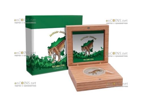 Никарагуа монета 100 кордоба Ягуар, подарочная упаковка