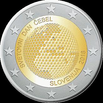 Словении монета 2 евро Мировой день пчел, реверс