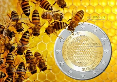 Словении монета 2 евро Мировой день пчел