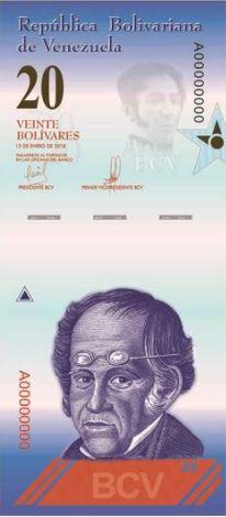 Венесуэла банкнота 20 боливаров 2018 год, лицевая сторона