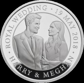 Англия монета 5 фунтов бракосочетание принца Гарри и Меган Маркл, серебро, реверс