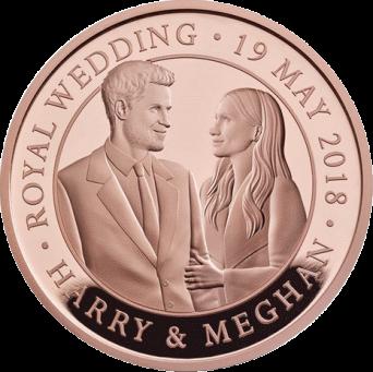Англия монета 5 фунтов бракосочетание принца Гарри и Меган Маркл, золото, реверс