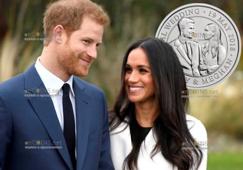 Англия монета 5 фунтов бракосочетание принца Гарри и Меган Маркл