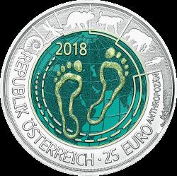 Австрия монета 25 евро Антропоцен, аверс