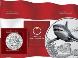 Австрия монета 3 евро Акула