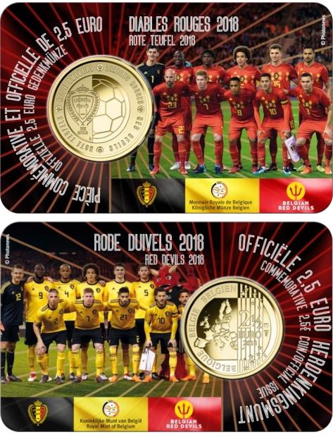 Бельгия монета 2,5 евро Красные дьяволы, подарочная упаковка