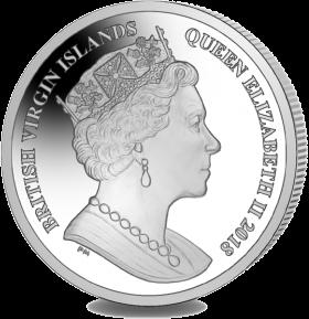 Британские Виргинские острова монета 10 долларов 75 лет коронации королевы Елизаветы II, аверс