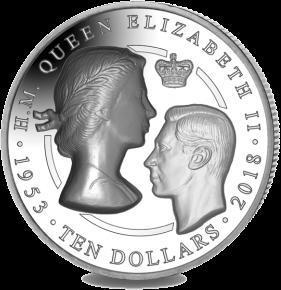 Британские Виргинские острова монета 10 долларов 75 лет коронации королевы Елизаветы II, реверс