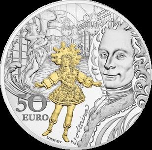 Франция монета 50 евро Барокко и Рококо, серебро, аверс