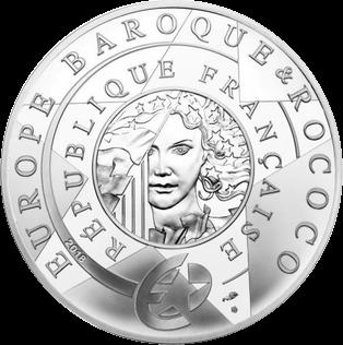 Франция монета 50 евро Барокко и Рококо, серебро, реверс
