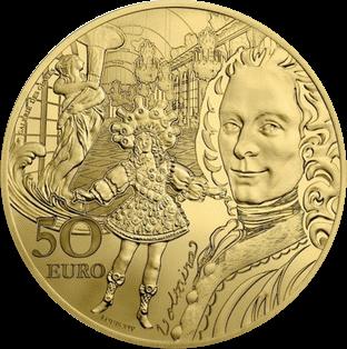 Франция монета 50 евро Барокко и Рококо, золото, аверс