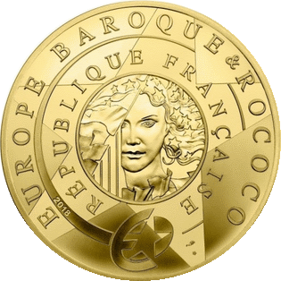 Франция монета 50 евро Барокко и Рококо, золото, реверс