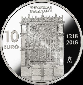 Испания монета 10 евро 800 лет Университету Саламанки, реверс