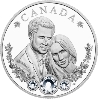 Канада монета 20 долларов свадьба Гарри и Меган, реверс