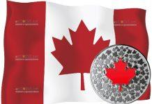 Канаде монета 5 долларов Кленовый лист (светящаяся в темноте)
