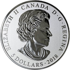 Канаде монета 5 долларов Кленовый лист (светящаяся в темноте), аверс