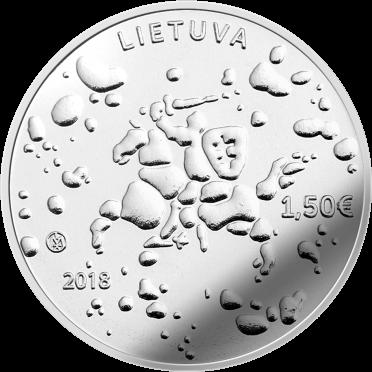 Литва монета 1,5 евро праздник Йонинес, аверс