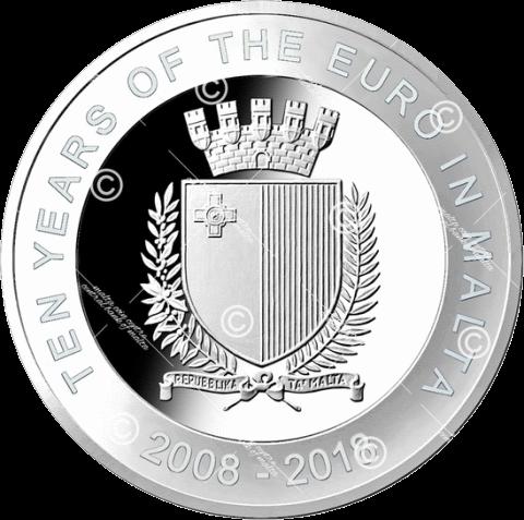 Мальта монета 5 евро 10 лет введения евро, аверс
