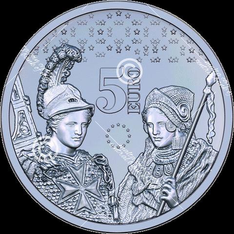 Мальта монета 5 евро 10 лет введения евро, реверс