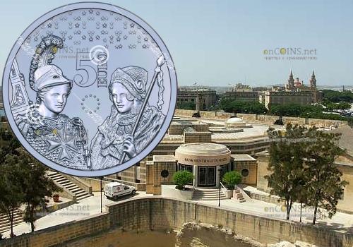 Мальта монета 5 евро 10 лет введения евро