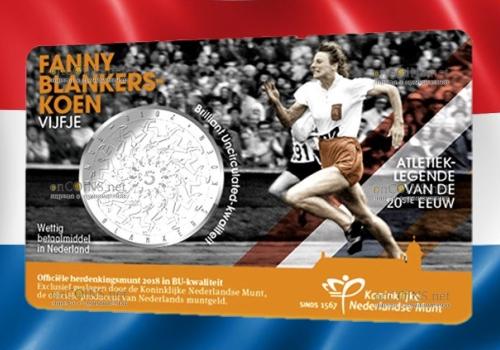Нидерланды монета 5 евро Фанни Бланкерс Коэн
