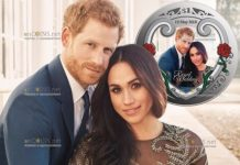 Новая Зеландия монета 1 доллар Бракосочетание принца Гарри и Меган Маркл