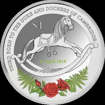 Новая Зеландия монету 1 доллар рождение принца Луи, реверс