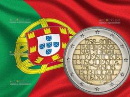 Португалия монета 2 евро 250 лет национальной прессы