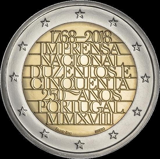 Португалия монета 2 евро 250 лет национальной прессы, аверс