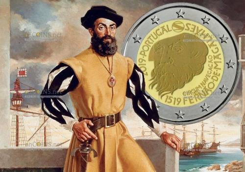 Португалия монета 2 евро 500 лет кругосветного плавания Магеллана
