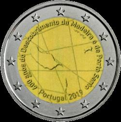 Португалия монета 2 евро 600 лет открытия острова Мадейра, реверс