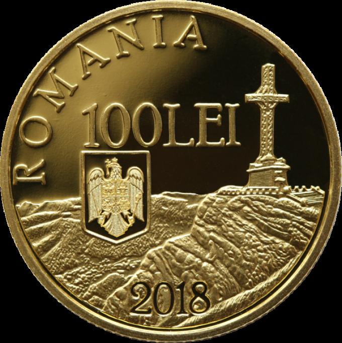 Румыния монета 100 леев 100 лет окончания Первой Мировой войны, аверс
